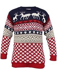Pull pour homme Fantaisie noël tricot motif renne hiver neuf
