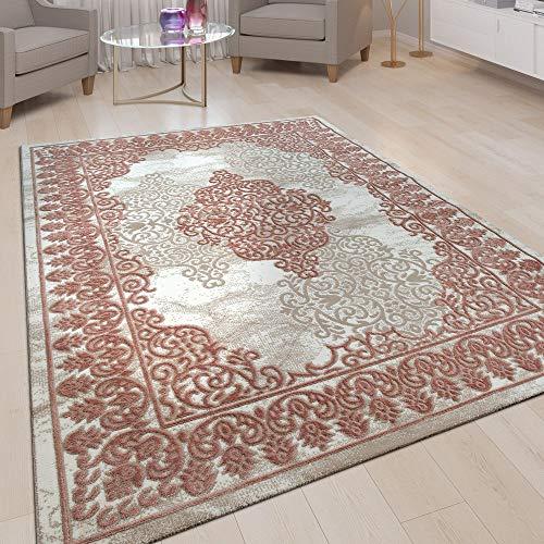 Alfombra Salón Pelo Corto Efecto Tridimensional Diseño Oriental Ornamentos Rosa, tamaño:120x160 cm...