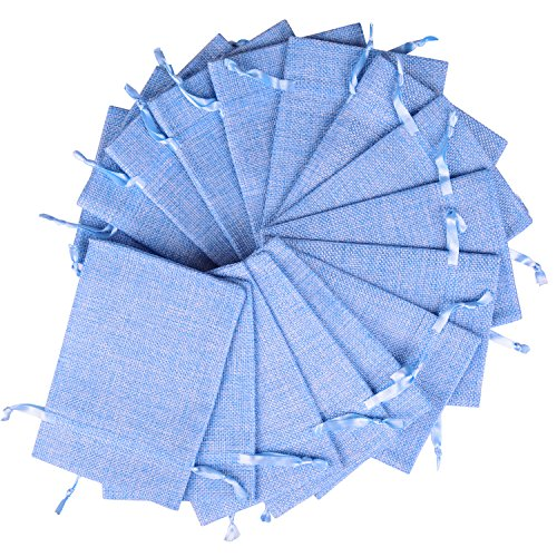 Wolfteeth 20pz sacchetti stoffa, bustine regalo bomboniera 10 x 15 cm con coulisse per gioielli(blu)