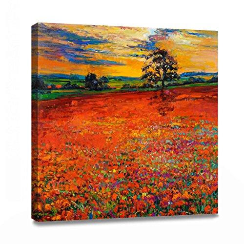 Decor MI Rot Mohn Spring Flowers Öl Gemälde auf Leinwand Art Wand Poppy Decor für Home Decor gespannt und gerahmt fertig Zum Aufhängen 78,7x 78,7cm - Mohn-Öl