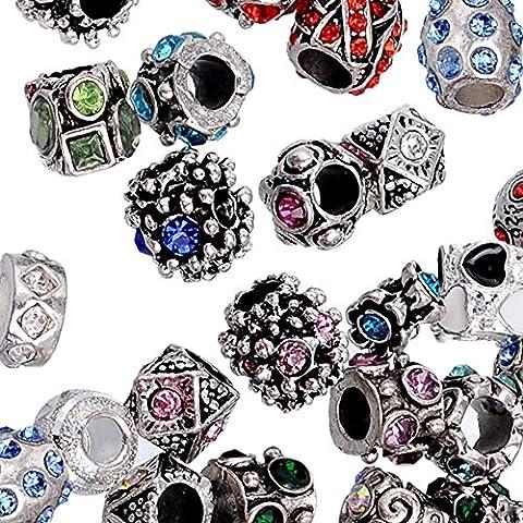 Rubyca Strass Couleur argent tibétain en métal Charm Perles Cristaux Bijoux, 100pcs