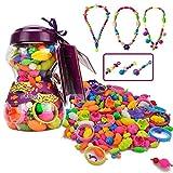 Pop Arty Beads Kid Spielzeug - Hanmun HS6635 mit 252 PCS DIY Modeschmuck Perlen Set für Halskette Armband Kunst Handwerk Motor Geschicklichkeitstraining Spielzeug Geschenk für Kinder Mädchen 3+