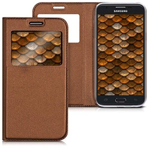 kwmobile Hülle für Samsung Galaxy J5 (2017) DUOS - Bookstyle Case Handy Schutzhülle Kunstleder mit Sichtfenster - Flipcover Klapphülle Kupfer