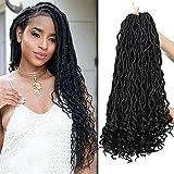 DorisDirect 6Packs 18inch Curly Faux Locs Crochet Hair Wavy Faux Locs Crochet Hair Twist Braids Crochet Braiding Hair Braids Mambo Hair Extension with 1 Crochet Needle and 5 Rings