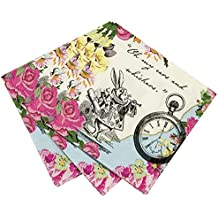 Talking Tables Truly Alice in Wonderland Floral Dainty Cocktail Napkins for Tea Party, Weddings and Birthday Party, Mad Hatter Party, Multicolour (20 Pack)