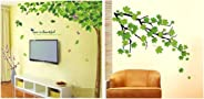Decals Design 'Bestselling Leaves Tree' Wall Sticker (PVC Vinyl, 90 cm x 60 cm, Multicolour) & 'Green Autumn Leaves Branch'