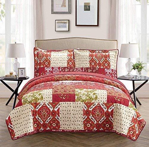 Linen Plus Bettwäsche-Set für King-Size-Bett/California King (3-teilig) gesteppt, wendbar, Blumenmuster, Patchwork, Burgunderrot, Beige, Grün -