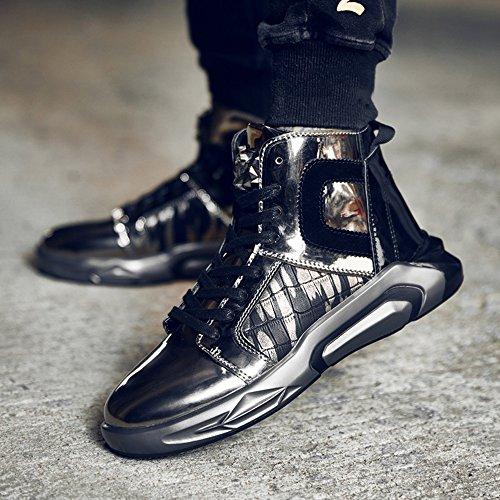 FEIFEI Scarpe da uomo Winter Fashion Personality Keep Warm High Help Tide Shoes 2 Colors ( Colore : Nero , dimensioni : EU40/UK7/CN41 ) Oro