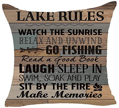 Funny Sayings Beach Rules No Shoes No Shirt Bathing Suits Optional No Skinny Cotton Linen Square Decorative Home Indoor Throw Pillow Case Cushion Cover 18