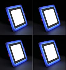 9W (6+3) LED Side Blue Square Ceiling POP Panel Light 3D Effect Lighting (Double Color) Pack of 4