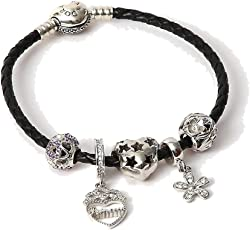 AAC 92.5 Silver Pandora Charms Bracelet with Leather Belt