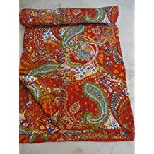 Textiles asiáticos Tribal Ikat Kantha Paisley Indio Hecho a Mano Art Manta Colcha 09
