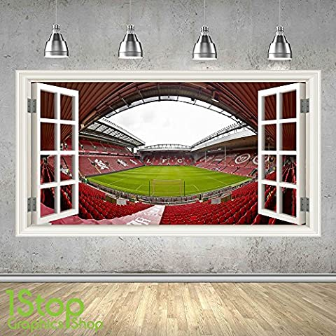 LIVERPOOL STADIUM WALL STICKER 3D LOOK - BOYS KIDS ANFIELD FOOTBALL BEDROOM Z460 Size: Large