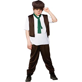 Victorian Poor Boy Fancy Dress Up Oliver Twist Kids Childrens Outfit + Hat