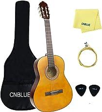 Full Size Chitarra Classica 39 Inch 6 Nylon guitar principiante/studenti/bambini starter kit: custodia corda extra plettri wipe (39 inch full size)