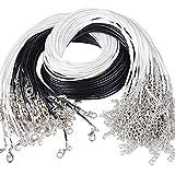 (44.5+4.5cm)100pcs Collier Corde de Cire avec Fermoir de Homard Noir et Blanc Fil Collier pour Fabrication Bijoux Bricolage Bracelet