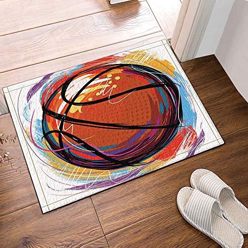 Vrupi ölgemälde Basketball Bad teppiche rutschfeste Boden eingänge Outdoor Indoor haustür Matte, 60x40 cm Bad Matte Bad teppiche