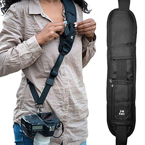 HiiGuy Kamera-Trageriemen für Canon oder Nikon, extra langer Trageriemen mit Schnellverschluss und Sicherheitshaltegurt, perfekt für alle DSLR, inklusive eBook, Objektiv-Tuch, SD-Kartenhülle