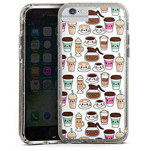 Apple iPhone 6 Bumper Hülle Bumper Case Glitzer Hülle Kaffee Coffee Kawaii Manga Style Bumper Case Glitzer gold