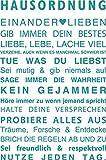 GRAZDesign 300123_30_WT054 Wandtattoo Familie - Hausordnung mit Herz | Wand-Aufkleber für Wohnzimmer | Wand-Sprüche Selbstklebend (45x30cm//054 Türkis)