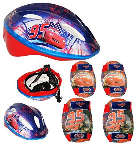5 tlg. Set: Kinderhelm + Knieschützer + Ellenbogenschützer - Disney Cars Lightning McQueen - Gr. 52 - 56 - circa 3 bis 15 Jahre - verstellbarer Helm - für Kinder...