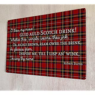 Artylicious Scotch drink poem Robert Burns quote scottish tartan A4 retro metal sign door wall art