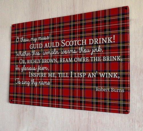 Preisvergleich Produktbild Metall-Schild mit Gedicht von Robert Burns, Schottland, Zitat, Schottenkaro