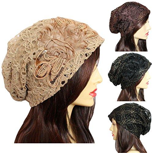 dy_mode Damen Beanie Mütze mit Pailletten und Blumenmuster - A015
