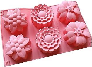 Allforhome (TM), Silikon-Muffin-Backform, 6 Blumenförmchen, für handgefertigte Seife, Kekse, Schokolade, Eis, Kuchen