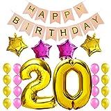 KUNGYO Zum 20. Geburtstag Party Dekorationen Satz-Rosa Happy Birthday Banner, Folienballon 20 in Gold-XXL Riesenzahl 100cm; Stern&Latex Ballon- Süße Alles Gute Zum Geburtstag für Frauen