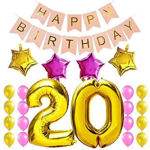 KUNGYO Dulce Fiesta de Cumpleaños Kit Decoraciones Happy Birthday Bandera Rosada Número 20 Mylar Foil Globo Fuentes Partido para el Cumpleaños de 20 Años