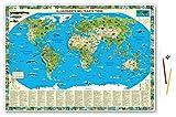 Illustrierte Weltkarte Tiere: Schreibunterlage