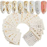 Grapits Gold Silver Nail Art Water Transfer Decals Metallic Nail Stickers Nail Decorations (30 Sheet)