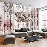 murando - Fototapete 150x105 cm - Vlies Tapete - Moderne Wanddeko - Design Tapete - Wandtapete - Wand Dekoration - Vintage Engel Holz Textur Blumen Rose f-C-0063-a-a