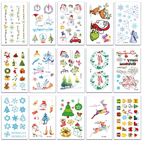 SZSMART Weihnachten Temporäre Tattoos Aufkleber, Klebetattoos Wasserdichte Tattoos wie Assorted mit Santa, Bäume, Schneemann, Strümpfe, Elche, Hut, Cane, Glocken, Geschenkboxen, Kränze (Style A)