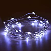 2 Pack Battery 2M 20 LED Silver Wire Fairy String Lights Firefly Lights DIY Decoration for Bedroom Jars Christmas…