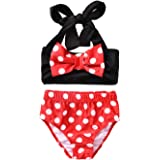 Aalizzwell Baby Girl Bathing Suit, Toddler Girls Two Piece Swimsuit Halter Top Bikini Bottoms Swimming Suit (Polka Dot, 5-6 Y