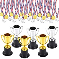Pllieay 30 Pieces Winner Trophies Medals Set Including 6 Pieces Plastic Trophy Cup and 24 Pieces Winner Medals for Kid Party Sports Awards (Silver and Gold)