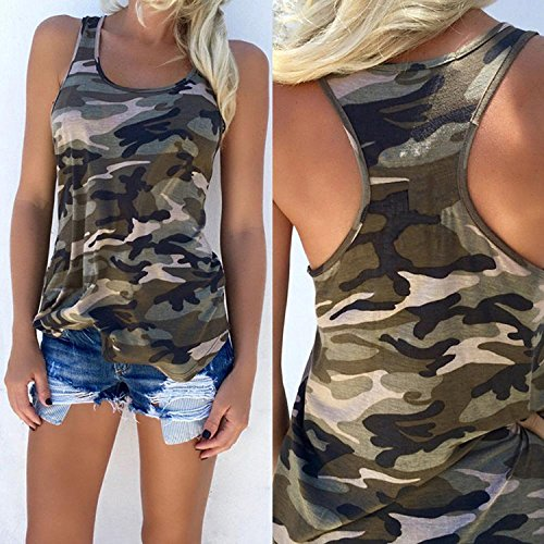 Minetom Women Summer Loose Casual Army Style Camouflage Sleeveless Tank Vest T-Shirt Blouse Tops