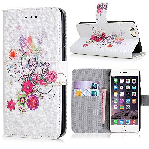 Apple iPhone 6 / 6s Handyhülle inklusive Displayfolie Eulen auf Ast Schmetterlinge mit Blumen