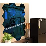 Atulya Arts - 3D Hexagon Acrylic Stickers (Pack of 20), Acrylic Mirror Wall Stickers for Home & Offices(Blue)