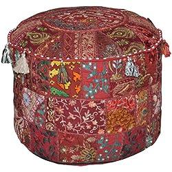 Indian Puf Taburete Vintage Patchwork adornados con Patchwork otomana de salón Protectora, 58x 33cm