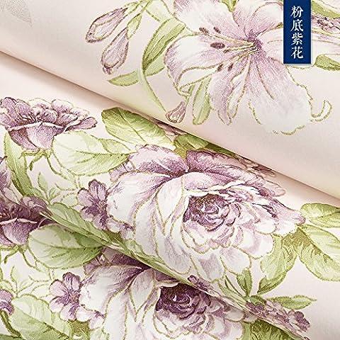 Jardin de style européen wallpaper,chambre pearl bas,ses grandes fleurs 3D'un non-tissé papier peint,télé du salon mur à l'arrière-plan,chaud canapé papier,purple Foundation