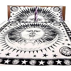 Conjuntos de Ropa de Cama Sun Moon Mandala, Negro, Blanco Sábana Doble Lecho de la Cama Colcha de Almohada India Funda de Almohada Tiro Bohemio con 2 Fundas de Almohada marchando