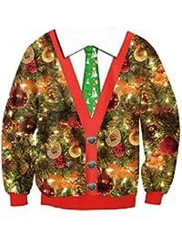 JOLIME Men's Christmas Crew Neck Novelty 3D Printed Santa Funny Festive Sweatshirt Jumper