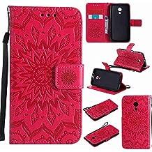 Guran® Funda de Cuero Para Motorola Moto G (2nda Generación) Smartphone Función de Soporte con Ranura para Tarjetas Flip Case Cover-rojo