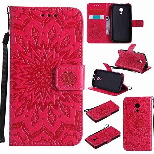 pinlu PU Leder Tasche Etui Schutzhülle für Motorola Moto G 2. Generation (5 Zoll) Lederhülle Schale Flip Cover Tasche mit Standfunktion Sonnenblume Muster Hülle (Rot)