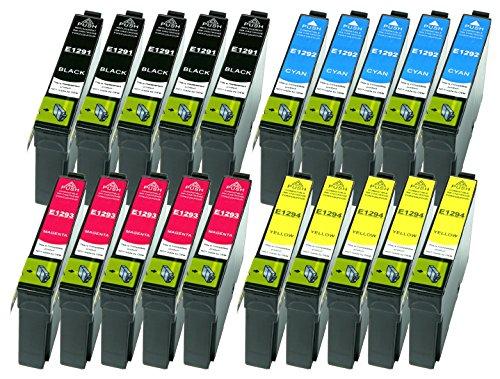 20 Druckerpatronen XL alle Farben ersetzen Epson T1291 T1292 T1293 T1294 geeignet z.B. für Epson Stylus SX230, Stylus SX235, Stylus SX420, Stylus SX425, WF 3520, WF 3530, WF 3540