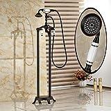 Galvanik Retro Wasserhahn Boden montiert Öl eingerieben Bronze freistehende Badewanne Armatur Dusche Badewanne Füller Mischbatterie, Schwarz