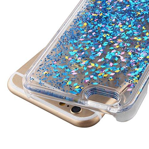 für iphone 7 Hülle Hartplastik Transparent,SKYXD Handyhülle iphone 7 Glitzer Flüssig Bewegen Partikel Fließen Durchsichtig Klar Brillianter Kreativ Design mit [Handyanhänger + Eingabestifte] Rückseite Farbe #12